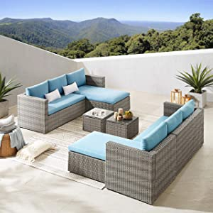 Volans 6 Piece Modular Outdoor Wicker Rattan Patio Furniture Set, Patio Sectional Conversation Sofa Set with Cushions and Coffee Table, Blue