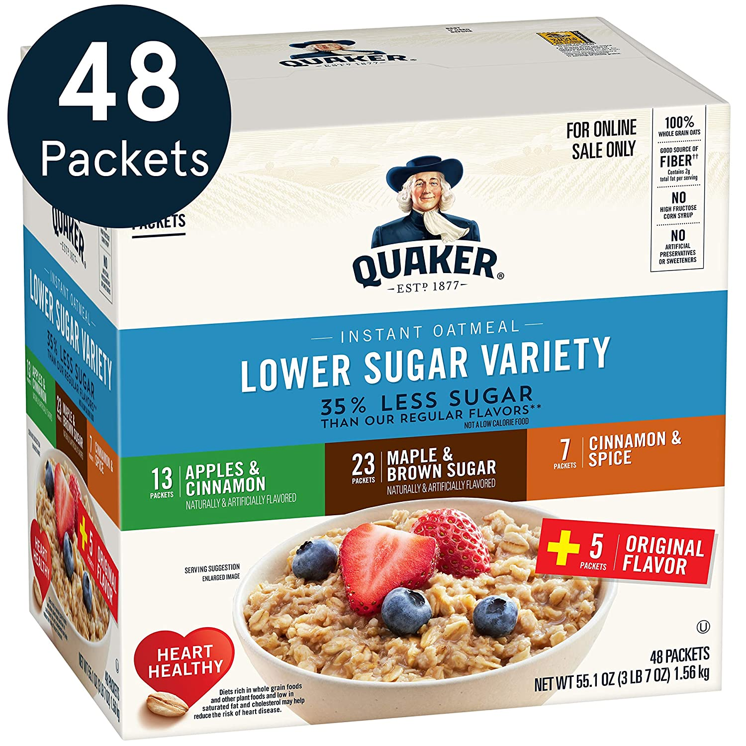 Quaker Instant Oatmeal, Lower Sugar, 4 Flavor Variety Pack, Individual Packets, 48 Count