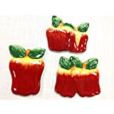 """Tuscan Hand Painted Set of 3 Assorted Apple Magnets 3-3/4""""H, 87486 by ACK"""