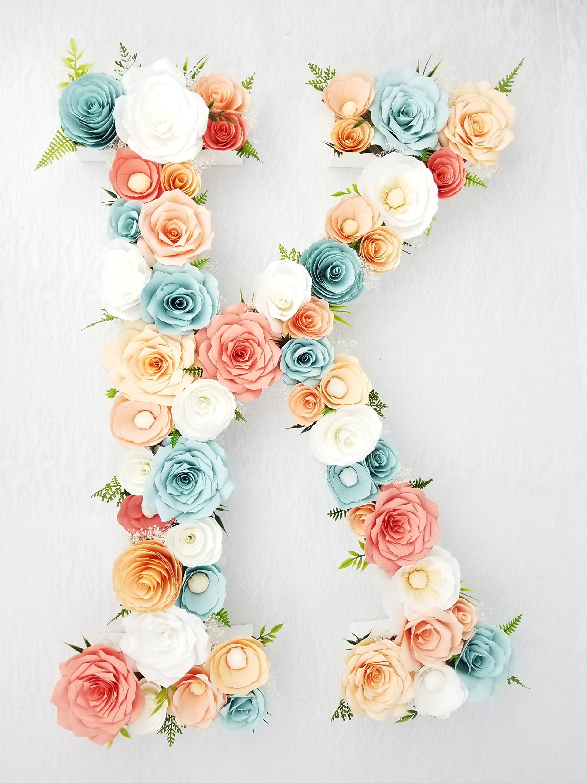 Peach, coral & aqua paper flower letter