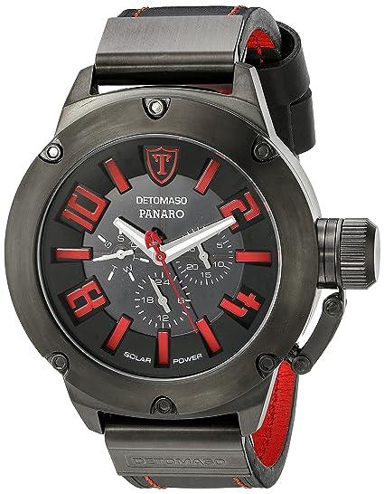 Detomaso Panaro XXL Solar - Reloj de cuarzo para hombres, con correa de cuero de