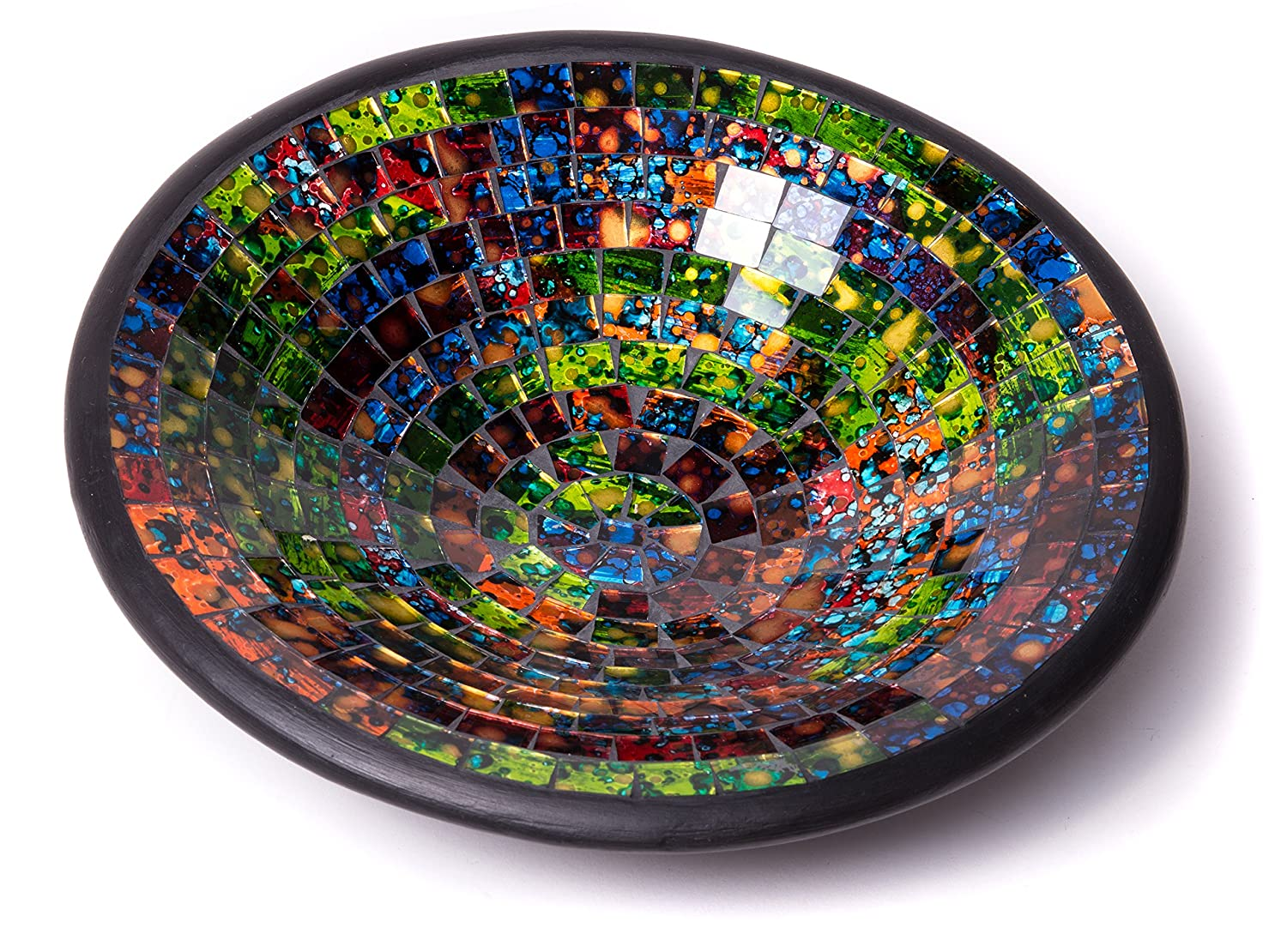 """Glass Mosaic Round Accent Plate Platter Decorative Catch-All Tray Dish Centerpiece Bowl - 11"""" with Green, Orange, Blue, Black, Brown Colors for Living Room, Bedroom, Hallway Console Side Table Decor"""