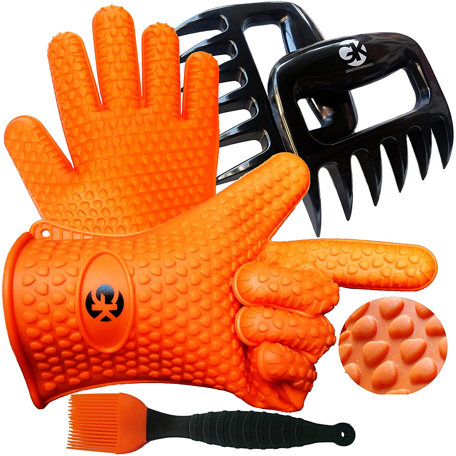 3 x No.1 Set: The No.1 Silicone BBQ /Cooking Gloves Plus The No.1 Meat Shredder Plus No.1 Silicone Baster PLUS eBooks w/ 344 Recipes. Superior Value Premium Set. 100% $ Back Satisfaction Guarantee Grace Kitchenwares GK 201