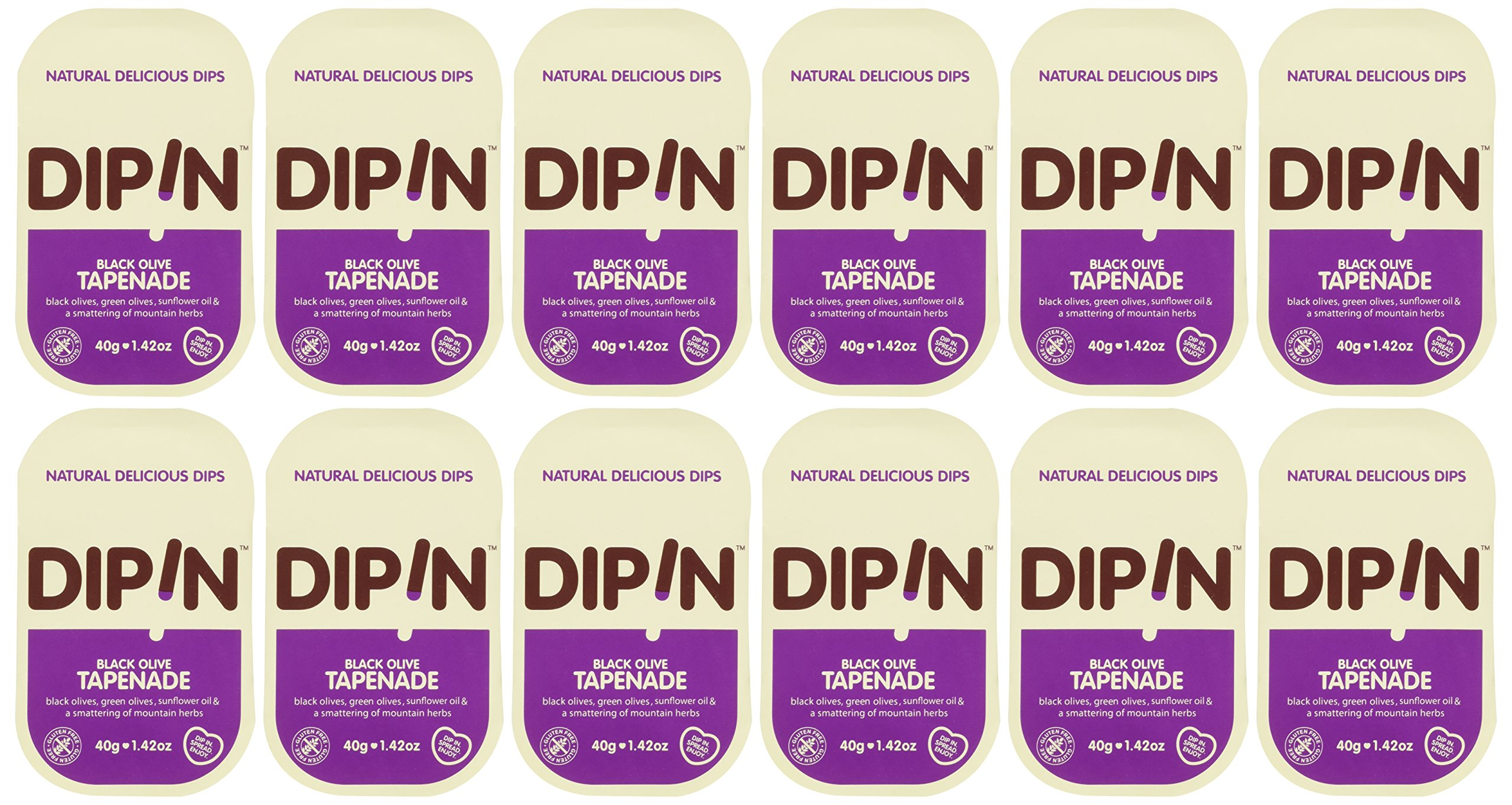 DipIn Natural Black Olive Tapenade (Pack of 12) (1.42 oz) by DIPIN