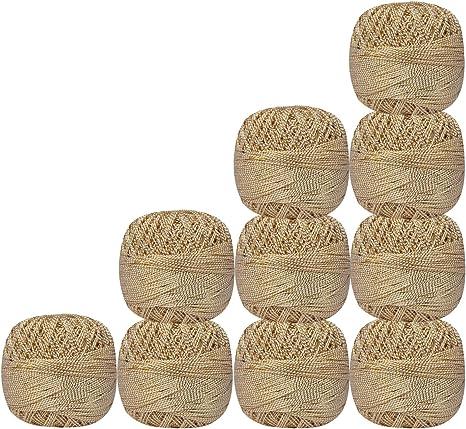 Lot de 10 pcs oro metálico blanco algodón Handicrafter para tejer ganchillo hilo de punto de cruz hilo bolas madejas Tatting blondas Lacey Craft: Amazon.es: Juguetes y juegos