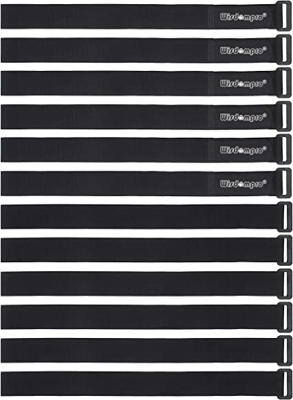 """1 x 24/"""" Hook and Loop Reusable Fastening Cable Tie Down Straps by 12 Pack"""
