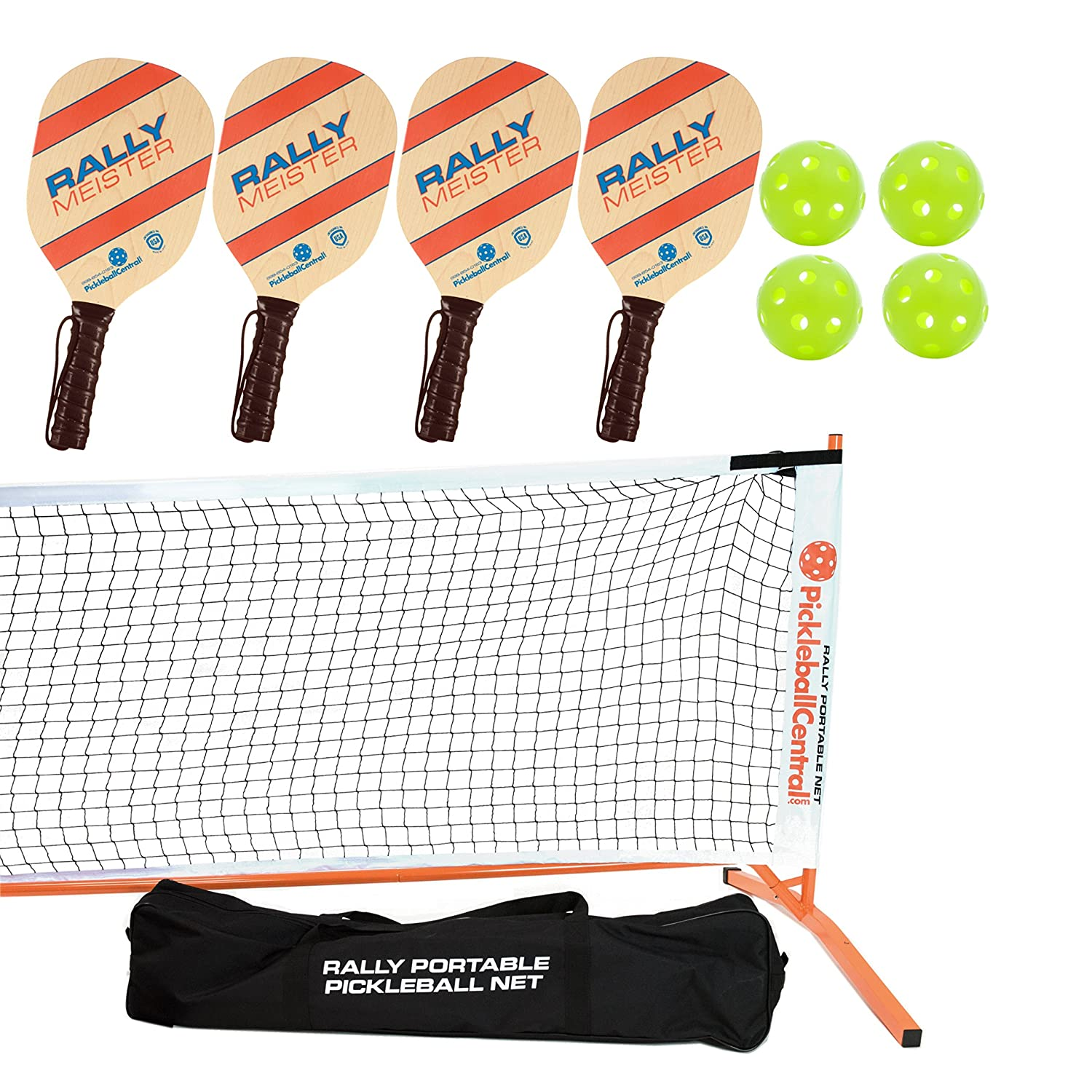 Rally Meister Pickleball Net、パドルとボールセット(Includesメタルフレーム+ Net + 4 Paddles + 4 Balls +ルールシートin Carryバッグ) B07CZ5NG5D オレンジ