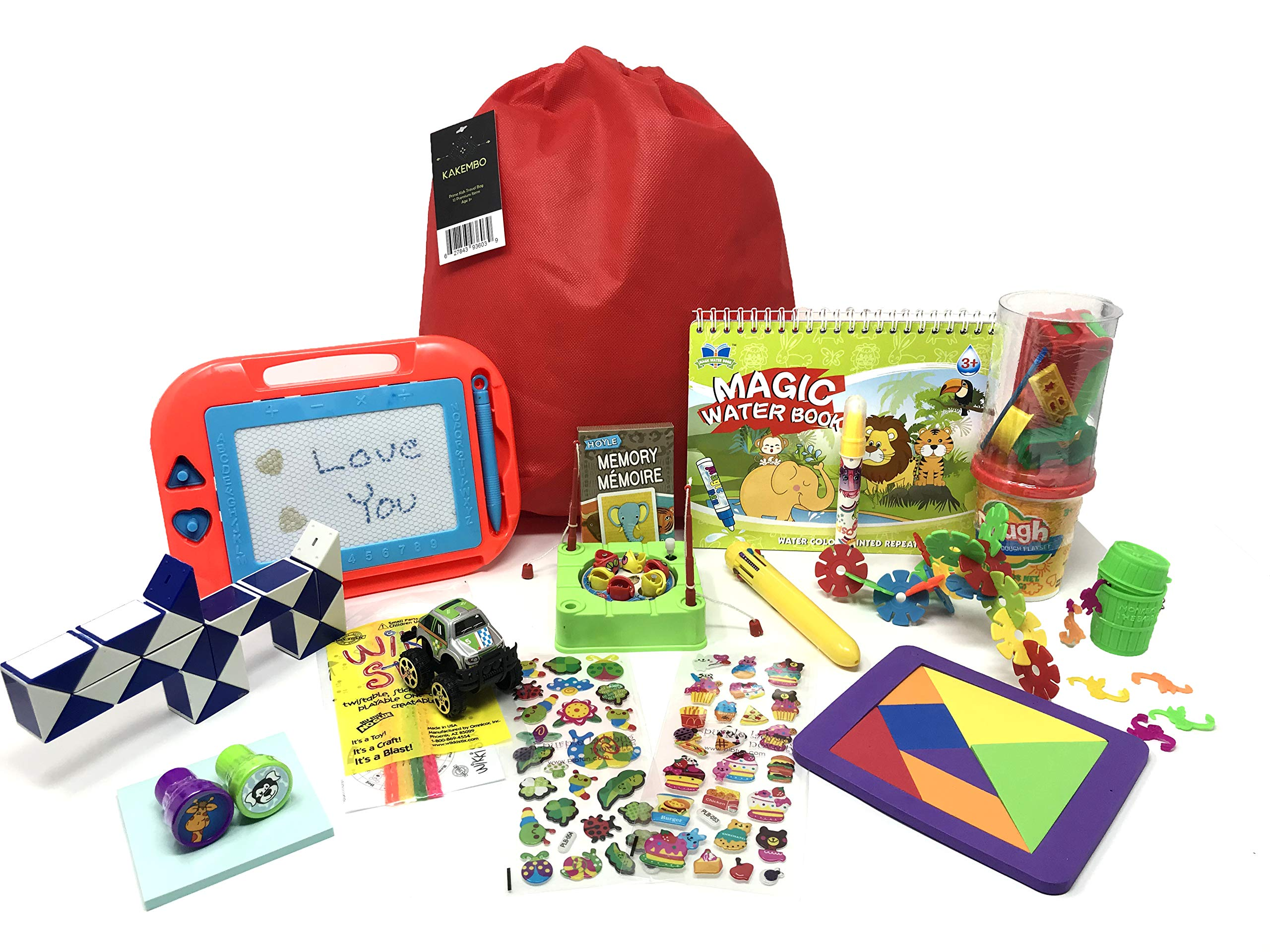 Deluxe Travel Activity Bag for Kids. Full of Travel Games & Travel Toys. Great Road Trip & Airplane Activities for Kids. Includes 16 Premium Items Like Magnetic Drawing Board, Fishing Game. Ages 5+ by Kakembo