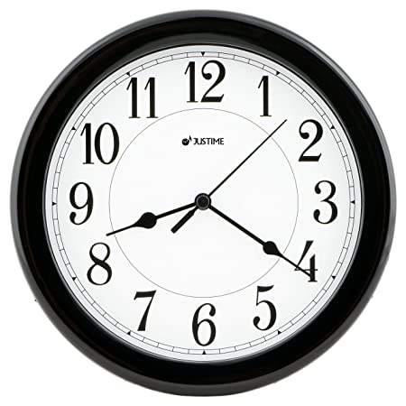 8.5 Inch Simply High-end Plastic Decorative Wall Clock, Water Resistant, Special for Small Space, Office, Boats, RV W86065 Black