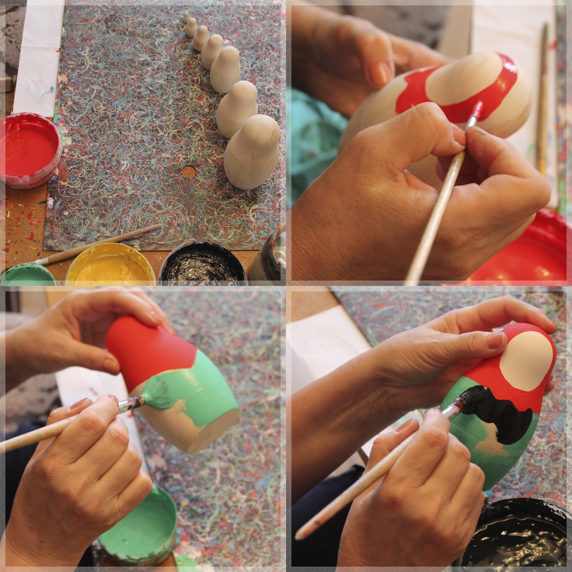 Lot 10 Unpainted Stacking Nesting Dolls Set 4 pcs - DIY Gifts by MATRYOSHKA&HANDICRAFT (Image #2)