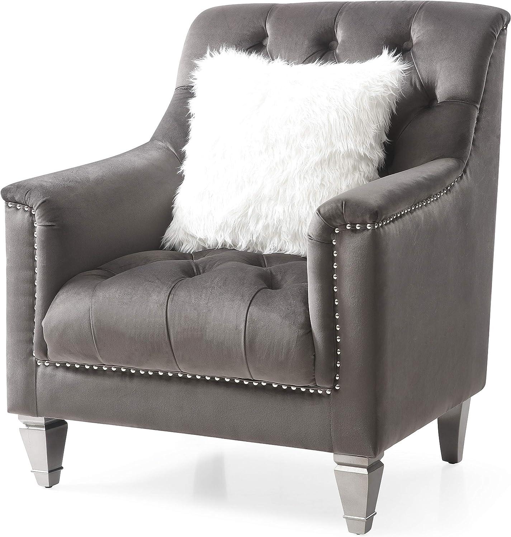 "Glory Furniture Dania , Gray Chair, 38"" H X 31"" W X 32"" D"