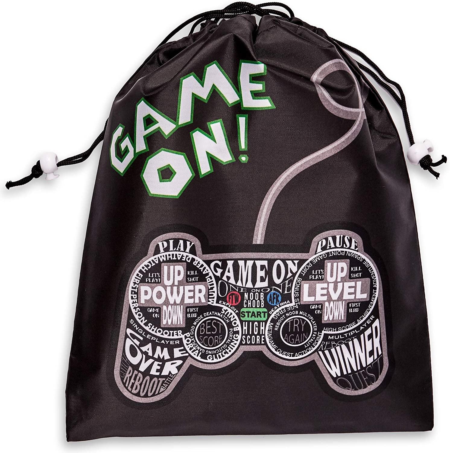 Game On Party Supplies, Drawstring Favor Bags (12 x 10 in, 12 Pack)