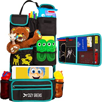 FREE GIFT Traveling With Kids eBook Cozy Greens/® Backseat Car Organizer Lifetime 100/% Satisfaction Guarantee Eco Friendly Material Must Have For Baby Travel Accessories And Kids Toy Storage |