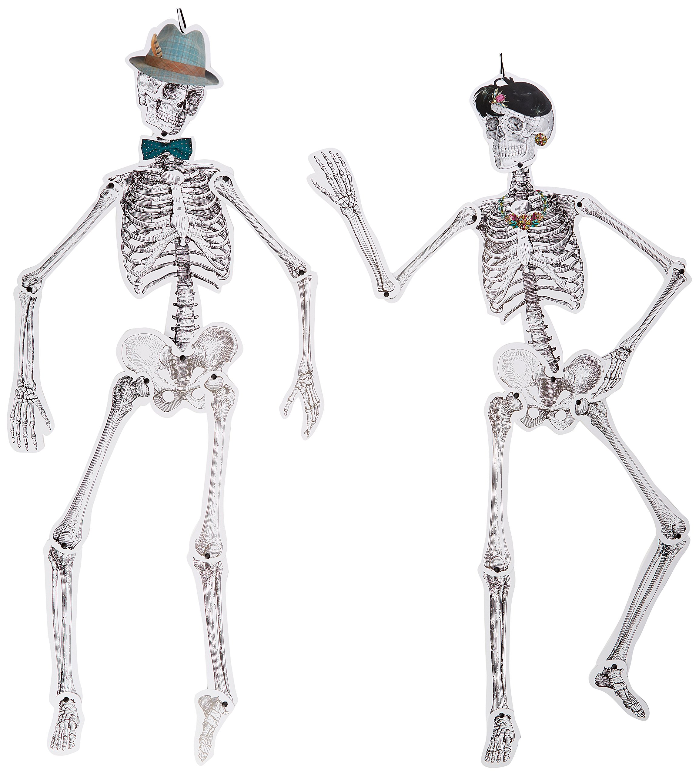 Talking Tables Halloween Décor | Skull Décor | Paper Skeleton Life Size | 2 Pack, Mr & Mrs by Talking Tables