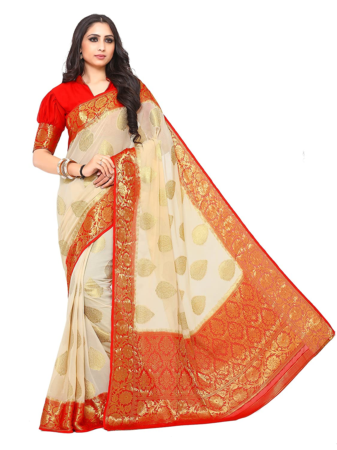 Beige Color Women's Woven Chiffon Saree With Blouse Piece