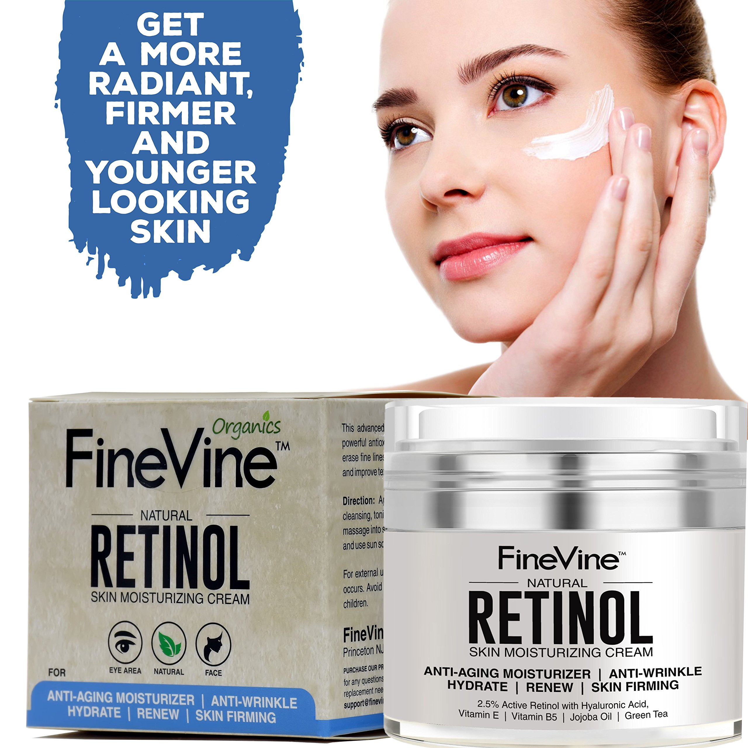 Retinol Moisturizer Cream for Face and Eye Area - Made in USA - with Hyaluronic Acid, Vitamin E - Best Day and Night Anti Aging Formula to Reduce Wrinkles, Fine Lines & Even Skin Tone. by FineVine (Image #7)