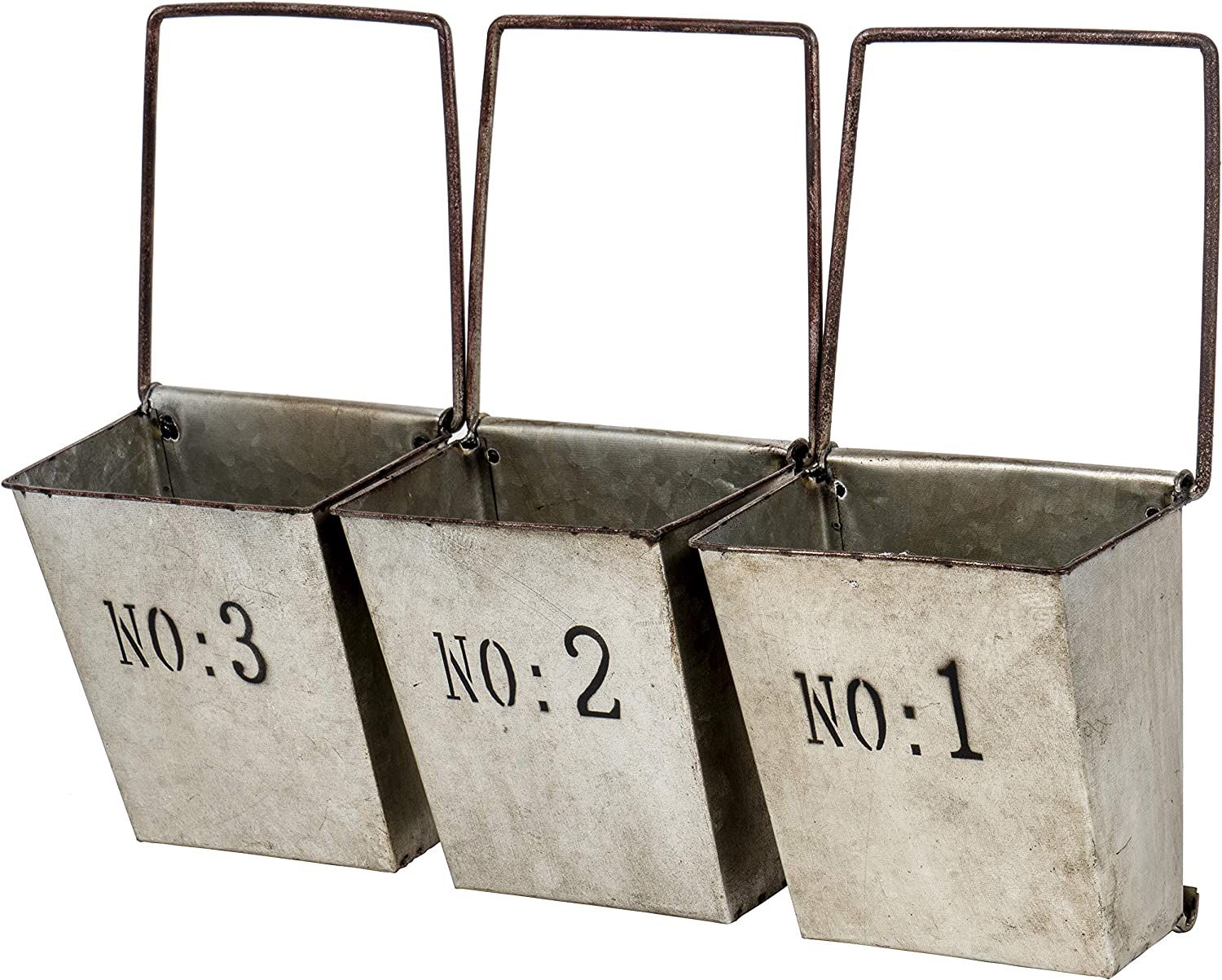 Red Co. Set of 3 Galvanized Hanging Buckets, Wall Pocket Planters, Country Rustic Farmhouse Décor