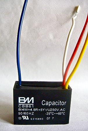 Condensador de ventilador de techo 4 cables 4/4.5/5: Amazon.es ...