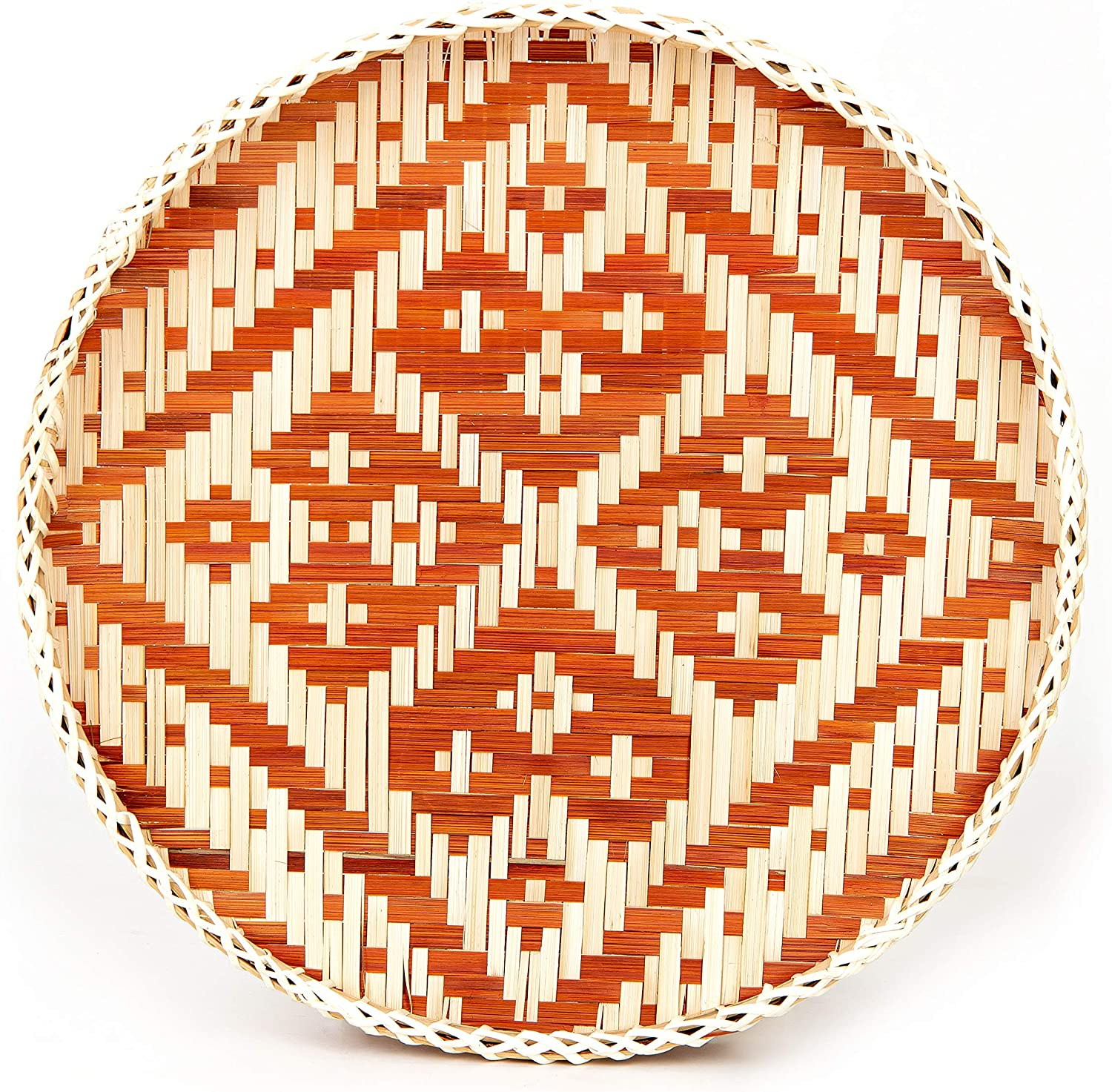 TV BAMBOO Bamboo Tray in Round, Brown Heart Shape Design | Handmade Decorative Trays for Home Decor | Boho Wall Art for Living Room | Bamboo Trays for Food | Woven Basket Wall Decor | 13.8