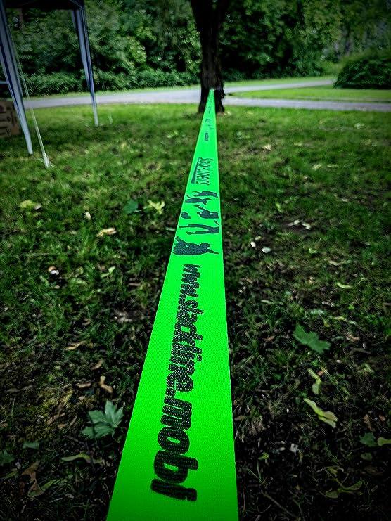 6 Piezas, 50 mm de Ancho, 25 m de Longitud, con trinquete de Palanca Larga, Fabricado en Alemania Color Verde Slack-Liners Juego Completo de Accesorios para Slackline