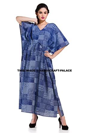 c8994c60d6b Image Unavailable. Image not available for. Color  Indigo Blue Indian Kaftan  Plus Size Women Dress Caftan Casual Beach Party ...