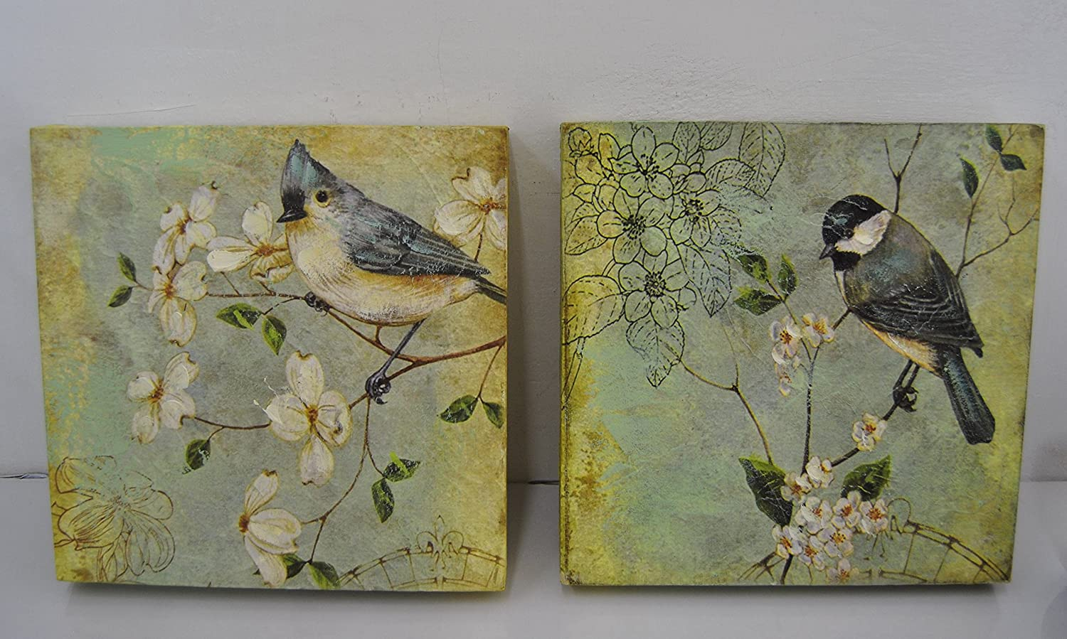 set of 3 beautiful bird canvas prints shabby chic style with
