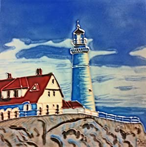 Continental Art Center BD-2032 8 by 8-Inch Light House on a Rock with a Red Roof House Ceramic Art Tile