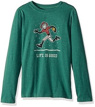 La vida es buena B camiseta de manga larga Niños nieve htfrgr - Camiseta de fútbol,,, Niños, Heather Forest Green: Amazon.es: Deportes y aire libre