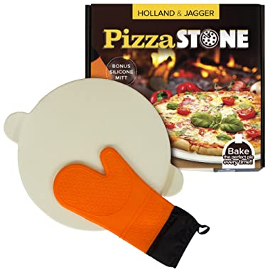 "Holland & Jagger Best Pizza Baking Stone with handles for Grill, Oven & BBQ—15"" Round Cooking Stone—Perfect also for Bread, Pastries & Cookies—FDA Approved—Bonus Silicone Glove"