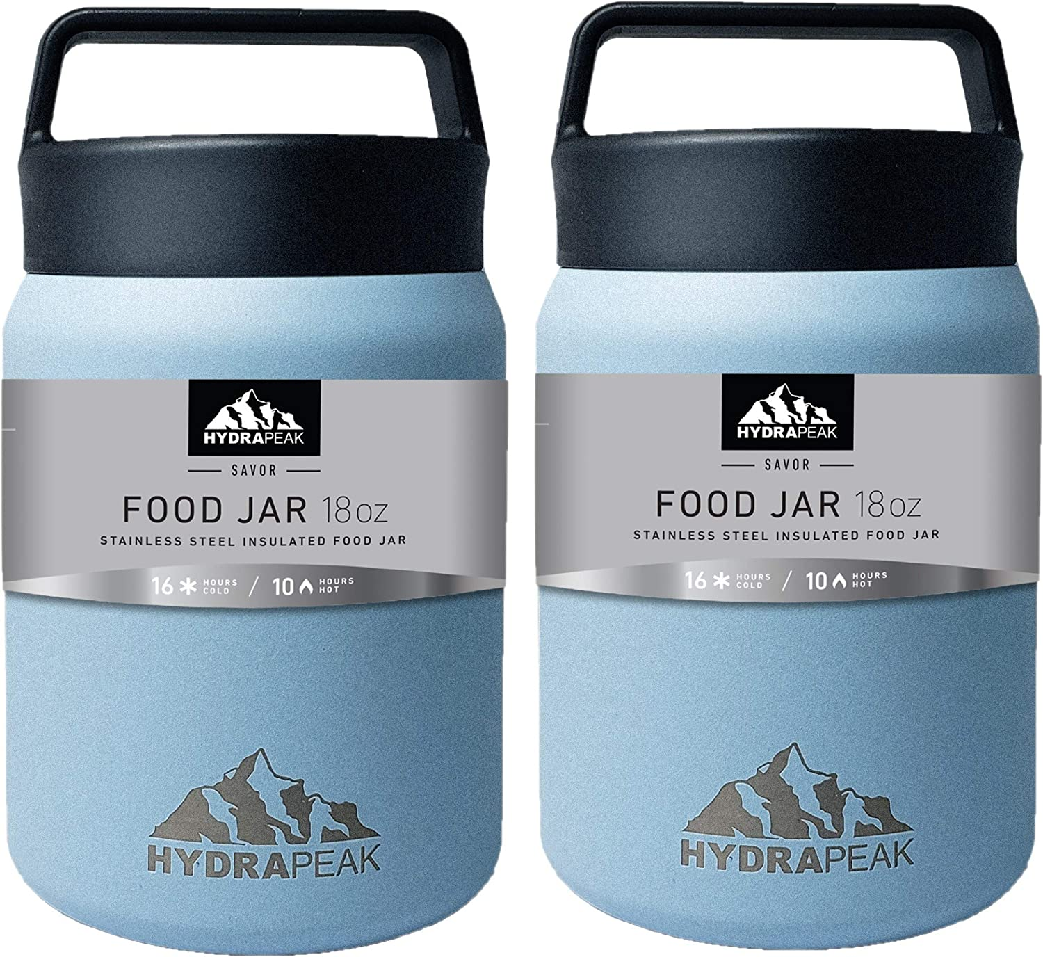 Hydrapeak 18oz Soup Thermos Food Jar | Stainless Steel Double-wall Vacuum Insulated |Travel Food Flask for Kids, Adults, Men, and Women (Cloud, 18oz-2PK)
