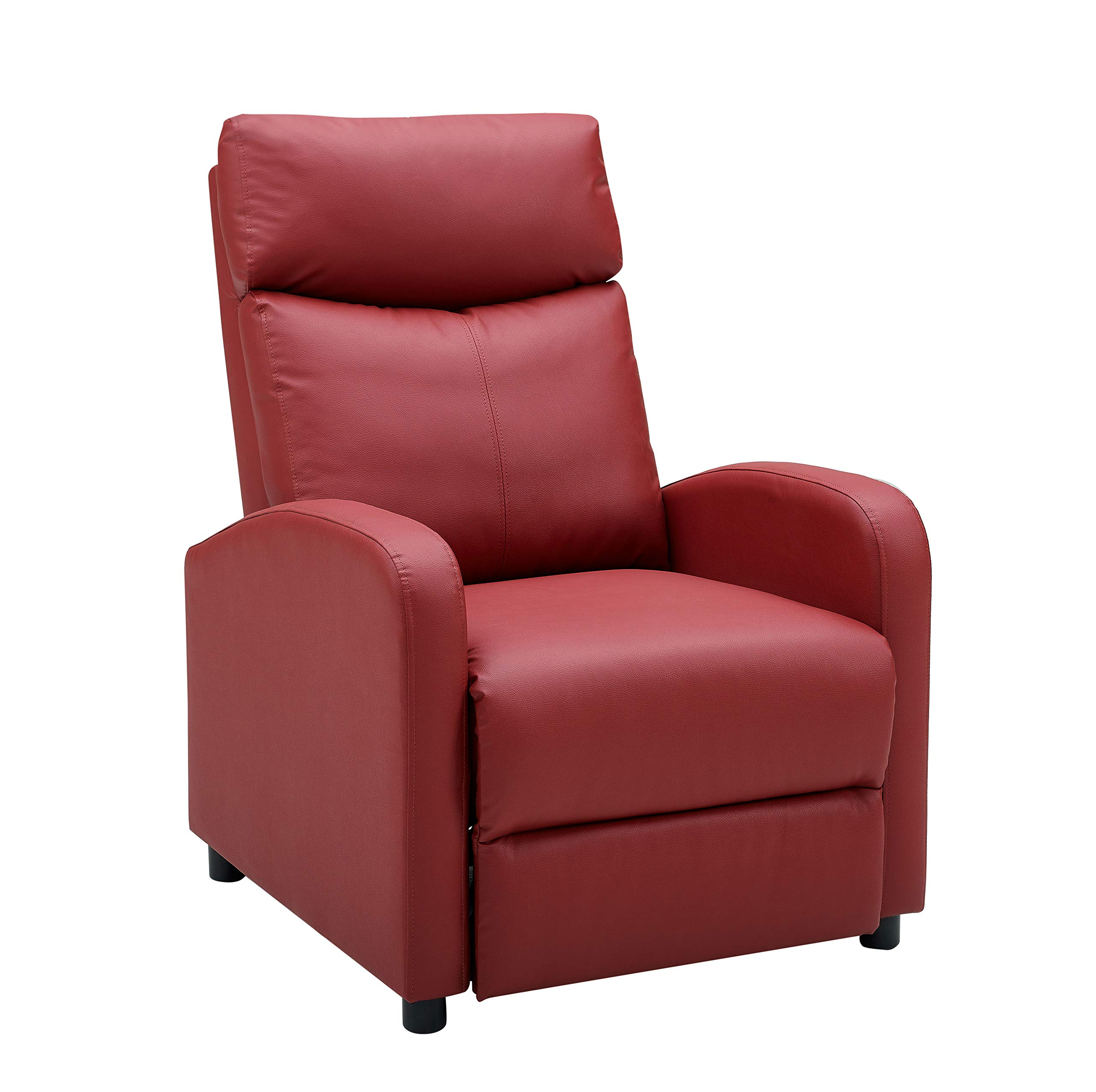 Single Recliner Chair Padded Seat PU Leather Living Room Sofa Recliner Modern Recliner Seat Club Chair Home Theater Seating (Vine Red) by LifeDecor