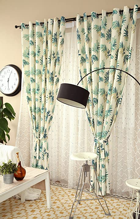 Jaoul Parlor Palm Leaves Pattern Linen Grommet Top Window Curtains Drapes  For Living Room, 52