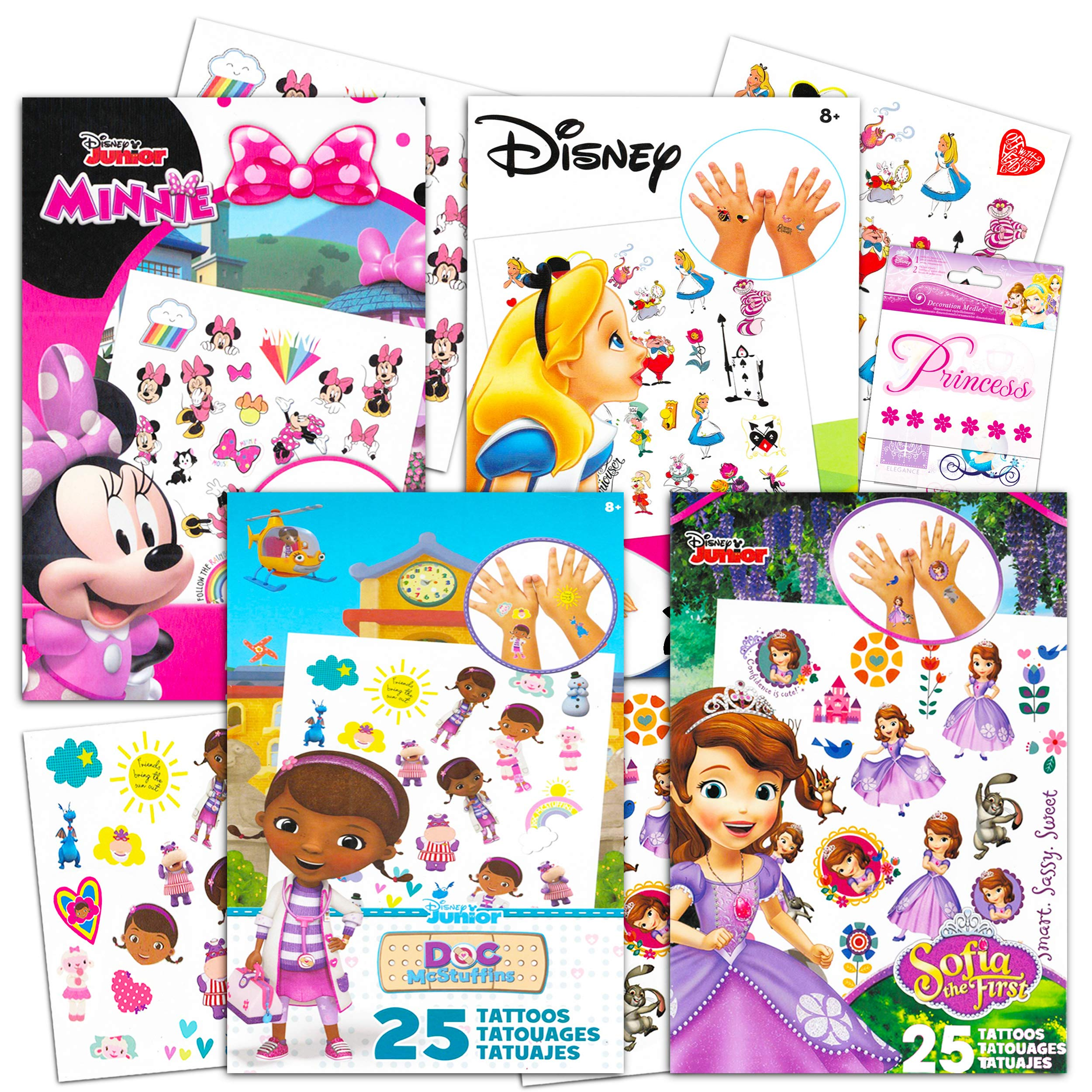 Disney Junior Tattoos Party Favor Set for Girls -- 100 Temporary Tattoos Featuring Minnie Mouse, Sofia The First, Doc McStuffins, Alice in Wonderland with Bonus Disney Princess Stickers
