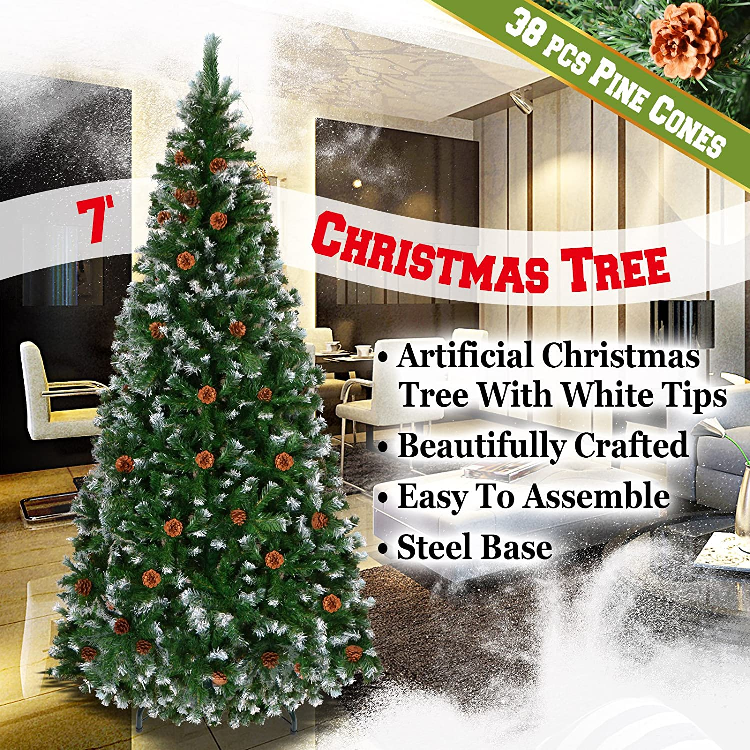 Amazoncom Benefitusa Snow Tipped Christmas Tree With Pinecones Artificial Realistic