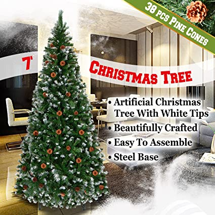 Christmas Tree Spray Snow.Benefitusa Snow Tipped Christmas Tree With Pinecones Artificial Realistic Natural Branches Unlit With Steel Stand Green