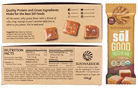 Sunwarrior – Sol Good Protein Bar, Organic, Refined Sugar-Free Vegan, Brown Rice, Pea Quinoa Protein Salted Caramel