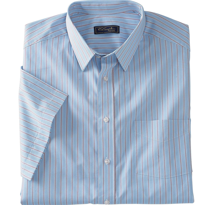 Kingsize Signature Collection Mens Big /& Tall Classic Fit Broadcloth Flex Short-Sleeve Dress Shirt