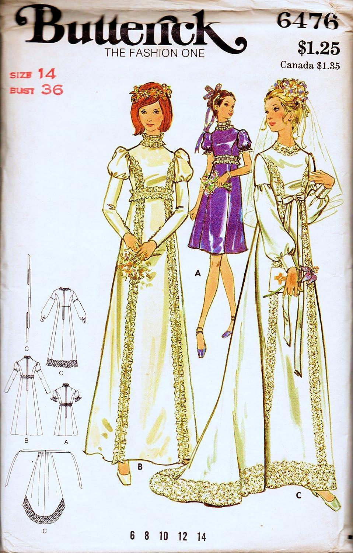 Butterick 6476 - Vestido de novia con tren, vestido de dama de ...