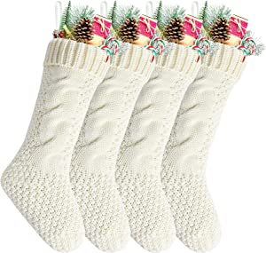 "Kunyida Pack 4,18"" Unique Ivory White Knit Christmas Stockings"