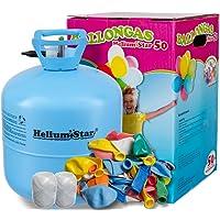 Helium Ballongas + 50 bunte Latexballons (Ø 25cm) + Polyband HeliumStar® Einwegflasche XXL mit 0,420 m³ Liter Heliumgas