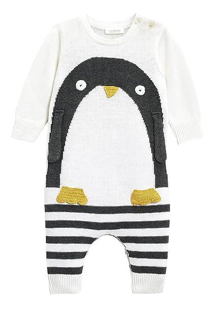 next Bebé-Niños Pelele De Punto con Pingüino (0 Meses - 2 Años) Crema/Negro 1.5-2 años: Amazon.es: Ropa y accesorios