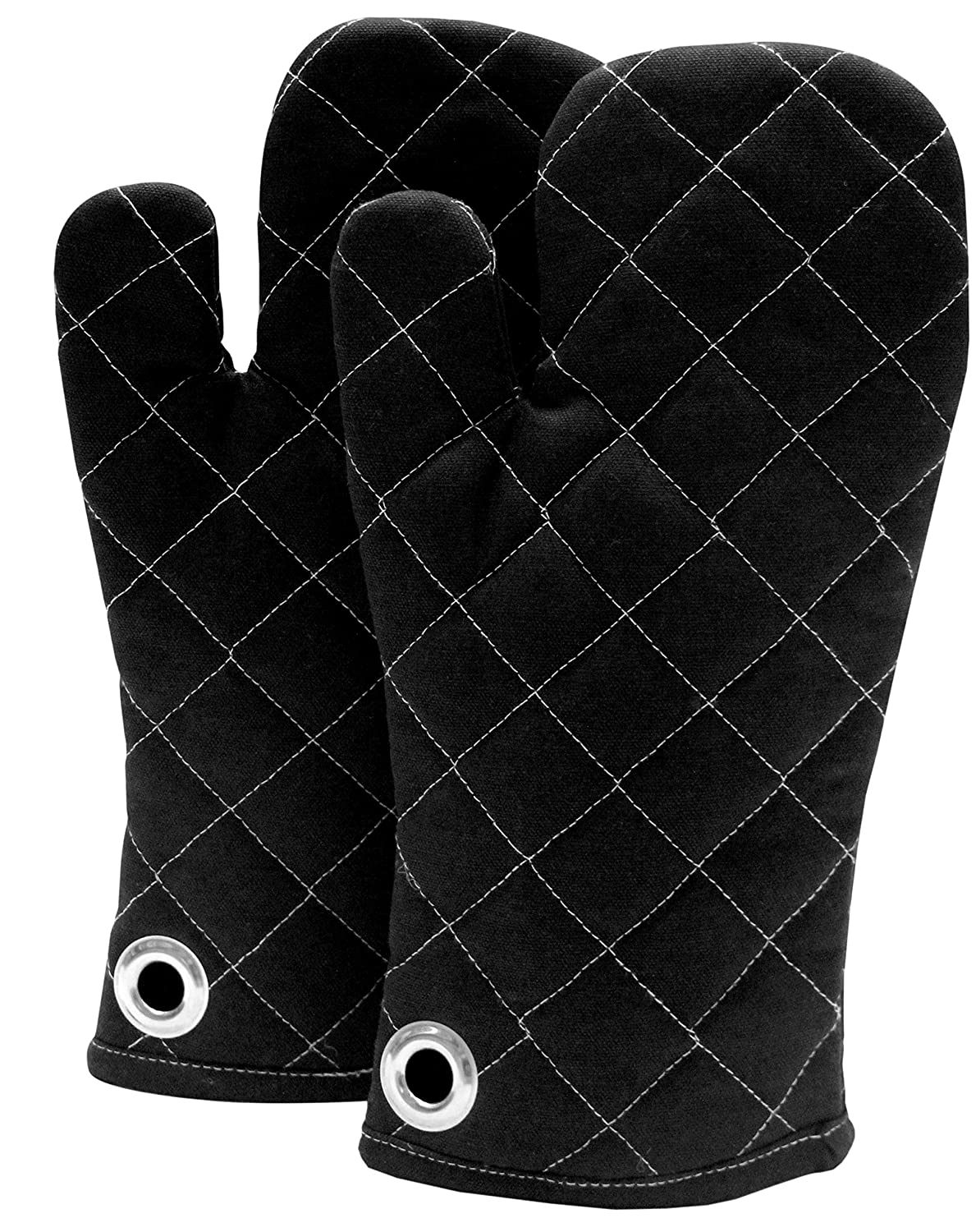 Cote De Amor Set of 2 Oven Mitts Gloves Bulk Heat Resistant Machine Washable, 100% Cotton Oven Mitts with Eyelet Hanger for Everyday Kitchen Cooking Baking BBQ, Black