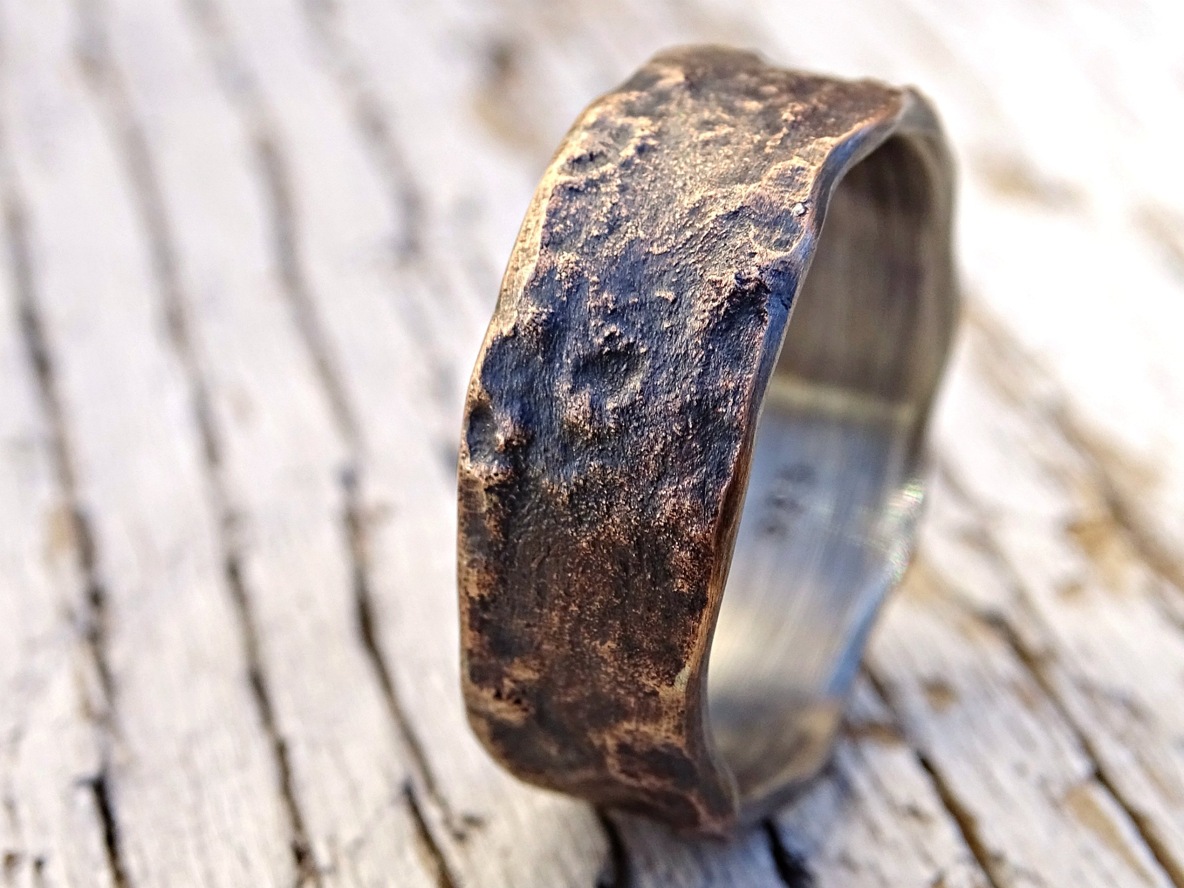 molten dark bronze ring silver band, unique mens ring bronze, personalized mens ring bronze wedding band for men, cool engagement ring wood grain