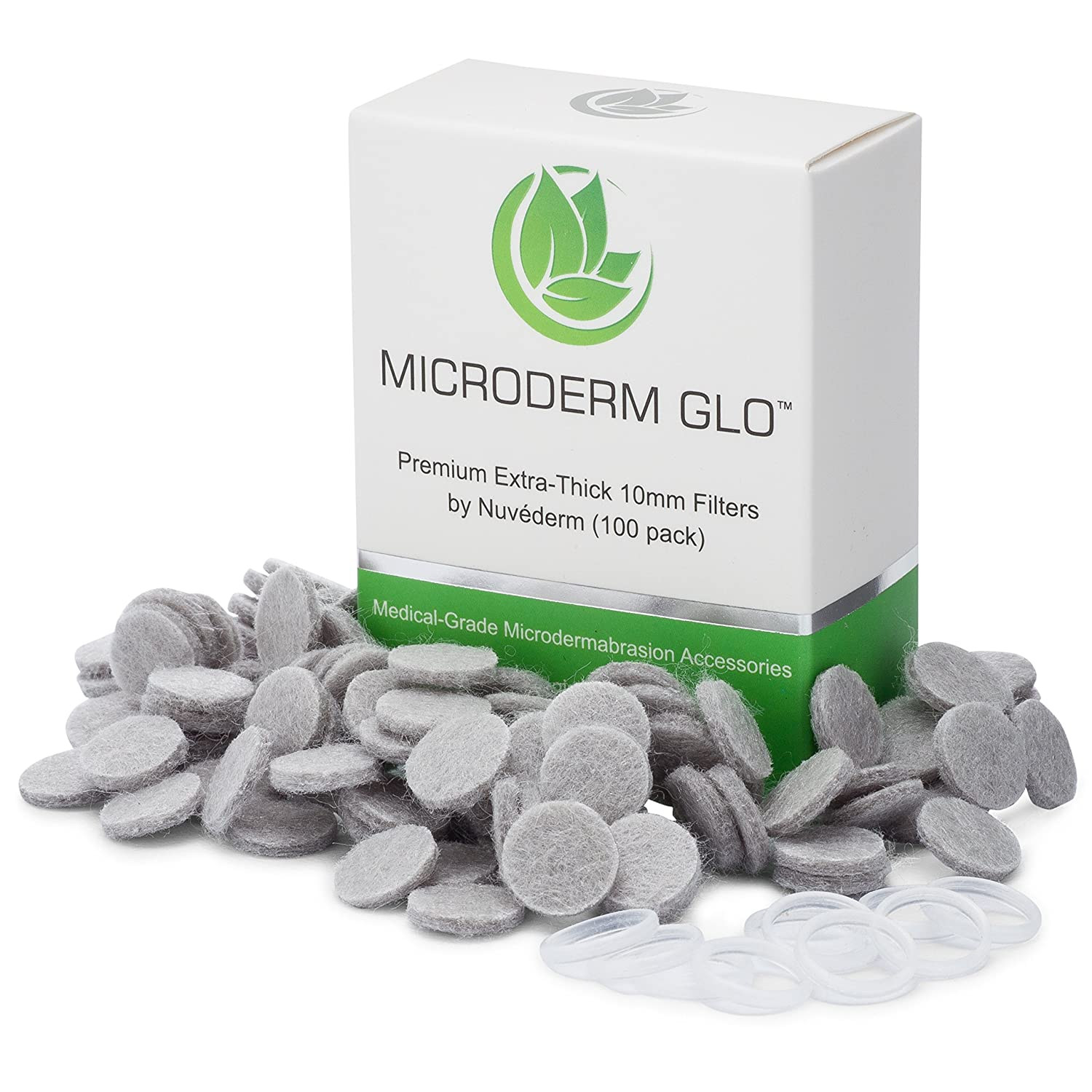 Microderm GLO Premium Extra-Thick 10mm Filters by Nuv derm 100 pack – Medical Grade Microdermabrasion Accessories with Patented Safe3D Technology, FDA Approved, Safe for All Skin Types.