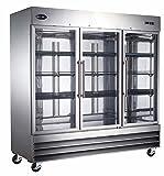 "Heavy Duty Commercial Stainless Steel Glass Door Reach-In Refrigerator (72"" Three Glass Doors)"