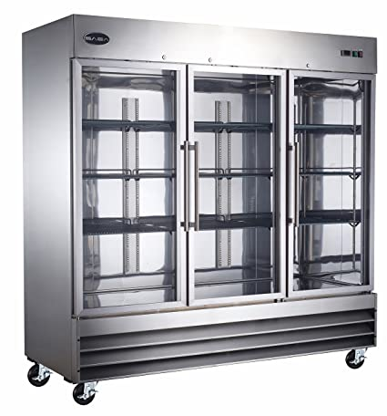 Heavy Duty Commercial Stainless Steel Glass Door Reach In Refrigerator  (72u0026quot; Three Glass