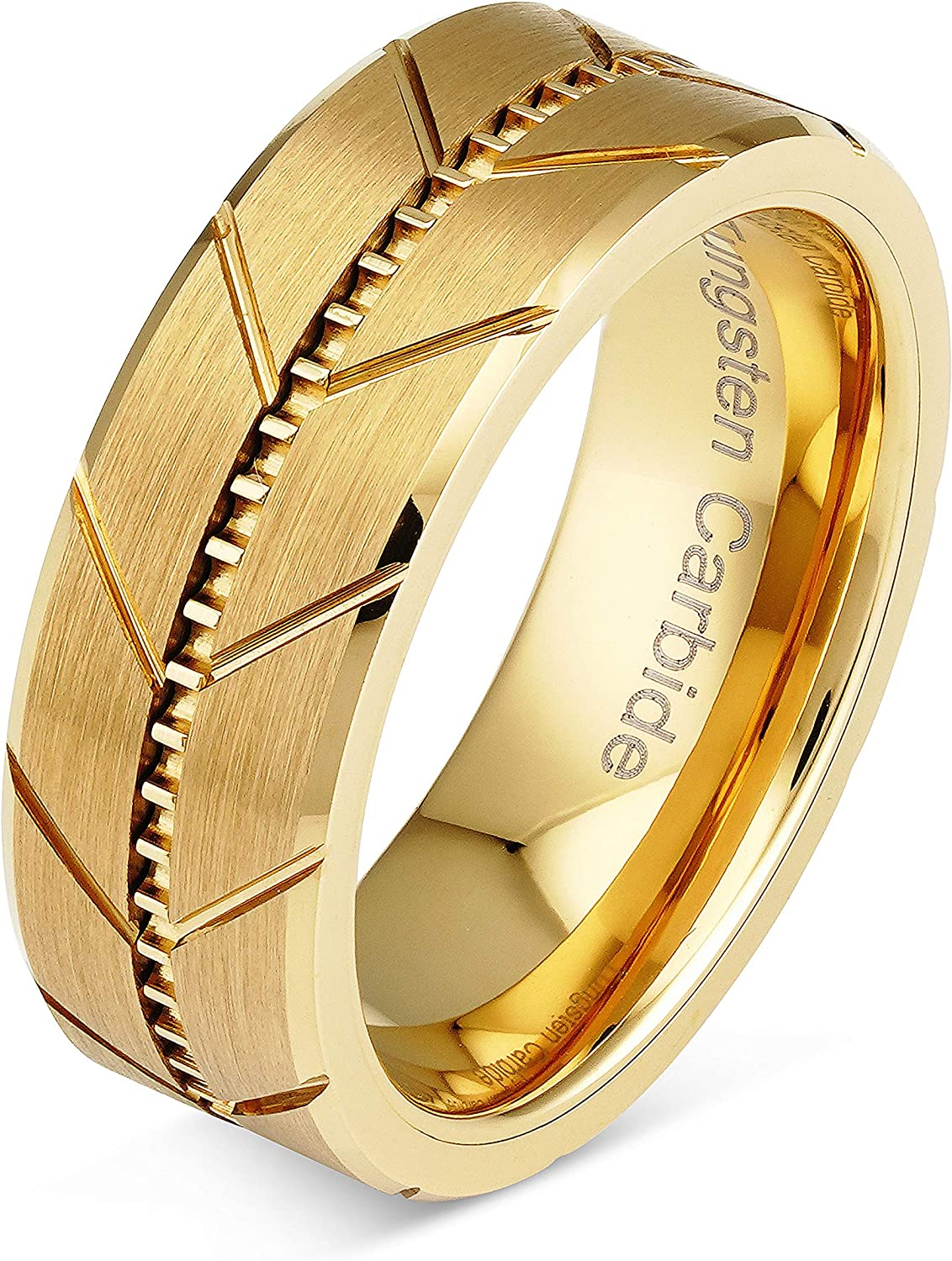 100S JEWELRY Engraved Personlized Tungsten Rings for Men Women Gold Wedding Band Sandblasted Finish Dome Edge Sizes 6-16