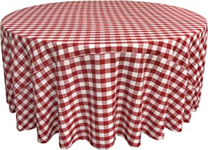 LA Linen Poly Checkered Round Tablecloth, 120-Inch, Red/White