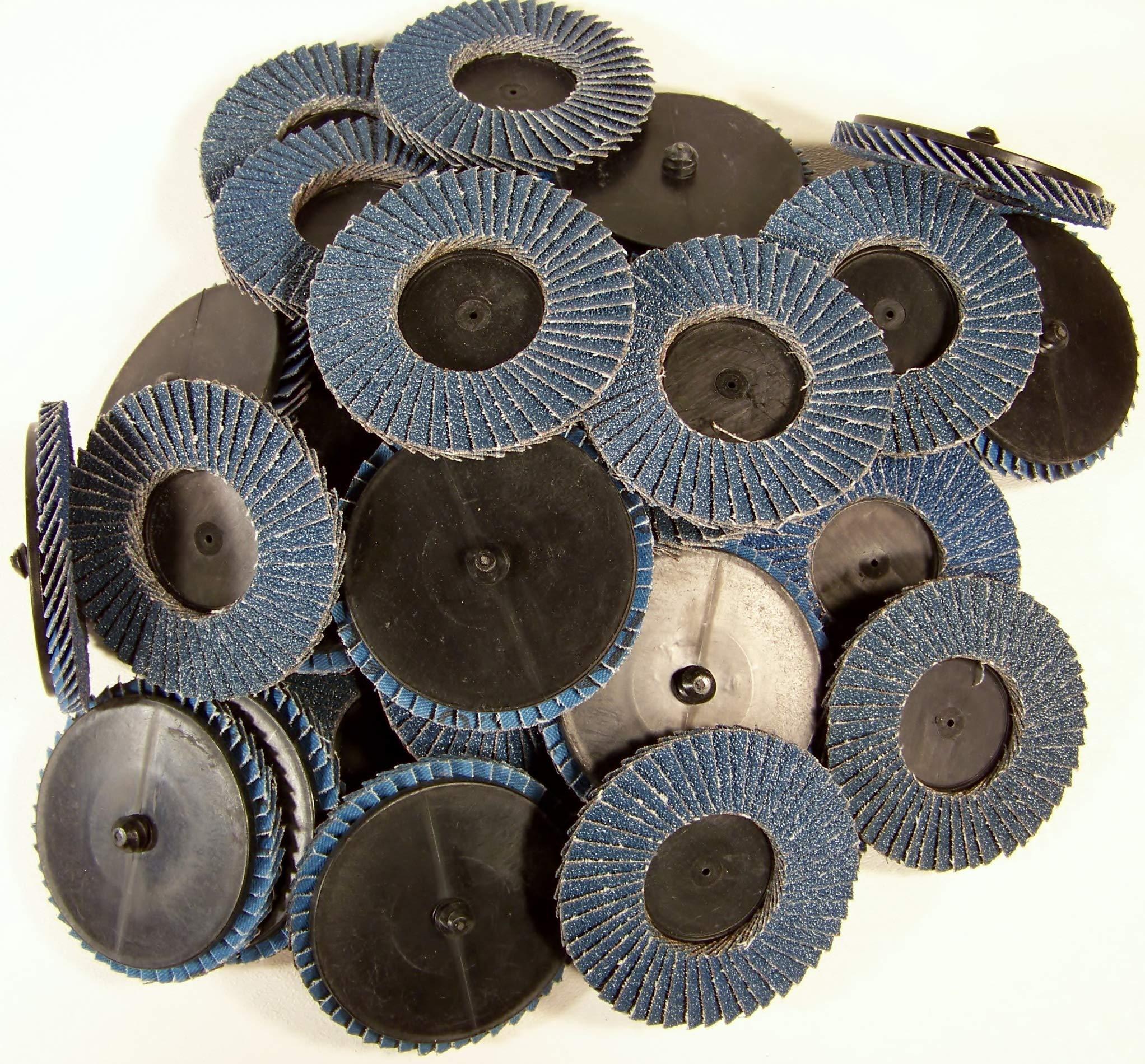 30pc 3'' Inch 60 Grit Flap Sanding Disc Wheels Type R Roloc Threaded Twist Lock by Generic