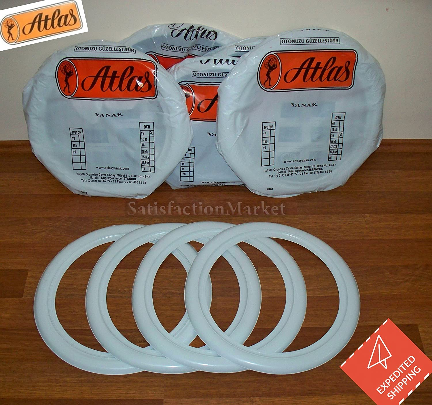 ATLAS 14 White Tire Wall Portawall Insert Trim Set 4pcs